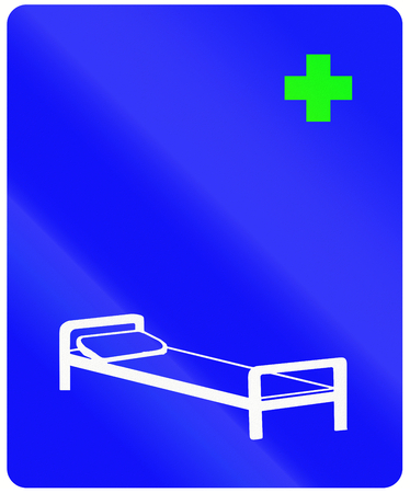 sickbed: An Indonesian infomrational road sign - Hospital Stock Photo