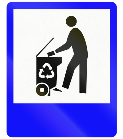 waste disposal: Information sign in Indonesia - Waste disposal Stock Photo