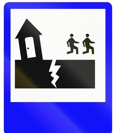 evacuation: Indonesian road sign - Earthquake evacuation route Stock Photo