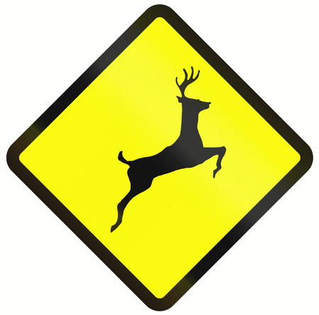 asia deer: Indonesian road warning sign - Deer crossing