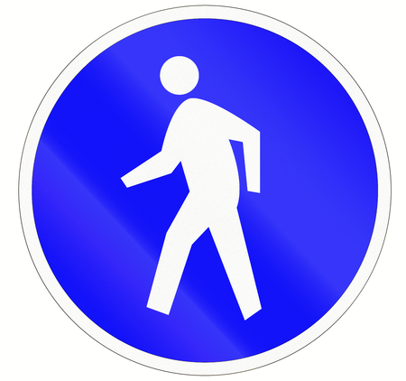 one lane road sign: Indonesian sign at a pedestrian lane depicting a single person.