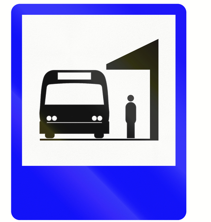 Informative road sign in Indonesia: Bus station photo