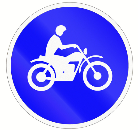 one lane roadsign: Indonesian traffic sign at a motorcycle lane. Stock Photo