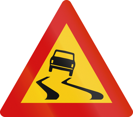 warning signs: Road sign in Iceland - Slippery road surface Stock Photo