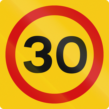 restricting: Icelandic traffic sign restricting speed to 30 kilometers per hour.