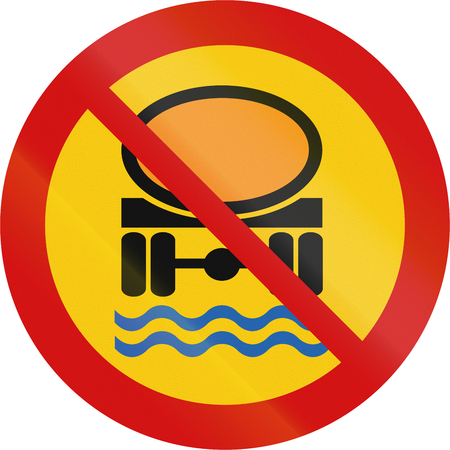 goods: Icelandic traffic sign prohibiting thoroughfare of vehicles transporting goods dangerous to water reserves.