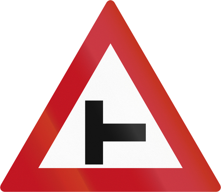 red handed: Botswanan sign warning about a T intersection. Stock Photo