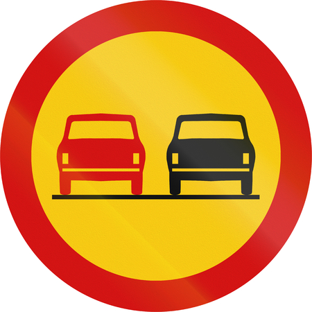 overtaking: Road sign in Iceland - No overtaking