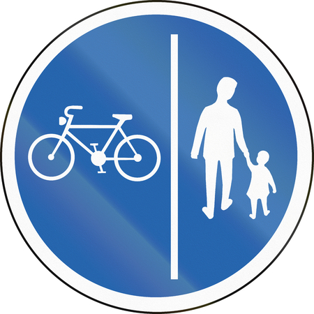 segregated: Road sign in Iceland - Segregated pedestrian and cycle path