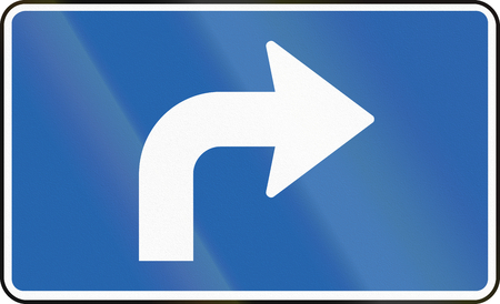 supplementary: Icelandic supplementary road sign - Direction Forward And Right