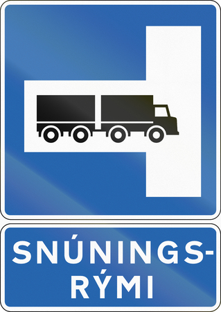 left handed: Icelandic information road sign: Place for lorries to turn around. The words mean: Turning area. Stock Photo