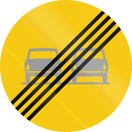 prohibition: Road sign in Iceland - End overtaking prohibition Stock Photo