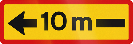 additional: Additional traffic sign in Iceland - Sign applies 10 meters in the direction of the arrow Stock Photo