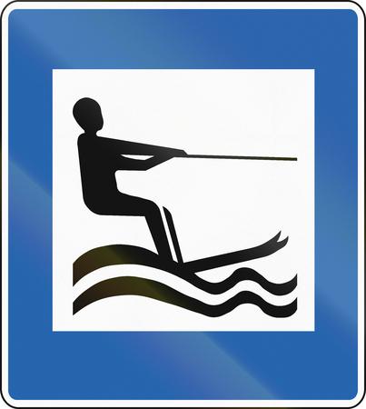 water skiing: Icelandic service road sign - Water Skiing