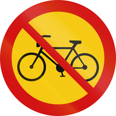 bicyclists: Road sign in Iceland - No bicyclists Stock Photo