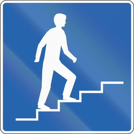 moving images: A Icelandic traffic sign - Pedestrian overpass.