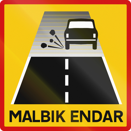supplementary: Supplementary road sign with the words in Icelandic: End of tarred road