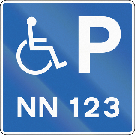 disabled parking sign: Road sign in Iceland - Disabled Parking with number