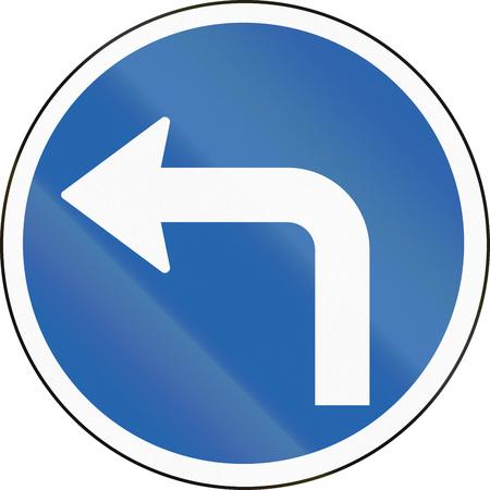left handed: Icelandic traffic sign: Turn left ahead Stock Photo