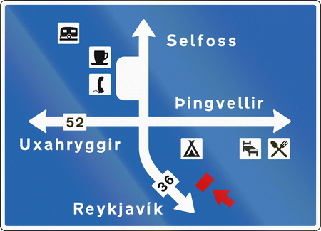 number 36: Icelandic information road sign with directions and services.