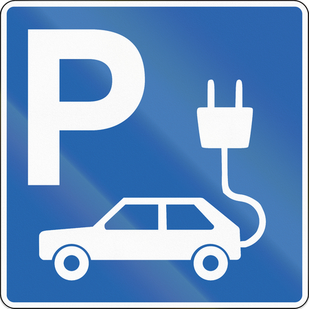 electric cars: Road sign in Iceland - Parking for electric cars