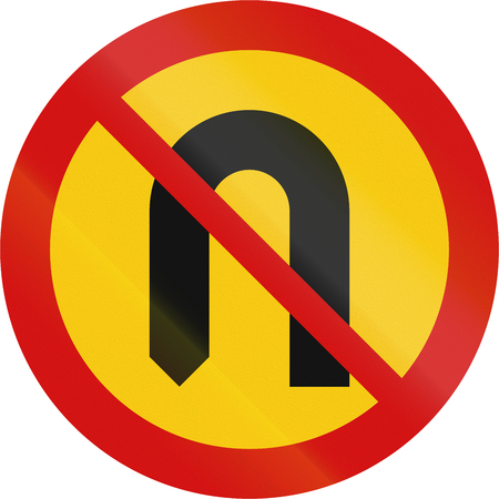 red handed: Road sign in Iceland - No U-turn