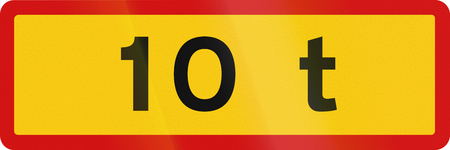 tons: Icelandic supplementary road sign - 10 tons weight limit