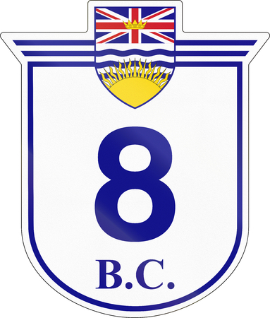 number 8: Shield for the British Columbia Highway number 8. Stock Photo