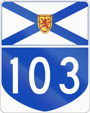 nova scotia: Route marker for Nova Scotia highway number 103. Stock Photo