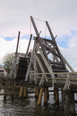 movable bridge: Movable wood bridge in Wieck near Greifswald, Mecklenburg-Vorpommern, Germany.