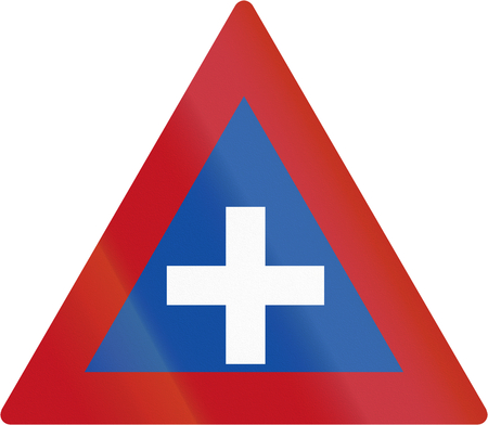 botswanan: Old design of Botswanan sign warning about crossroads. Stock Photo