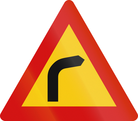 right handed: Road sign in Iceland - Right bend Stock Photo