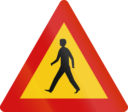 road warning sign: Road warning sign in Iceland - Pedestrians