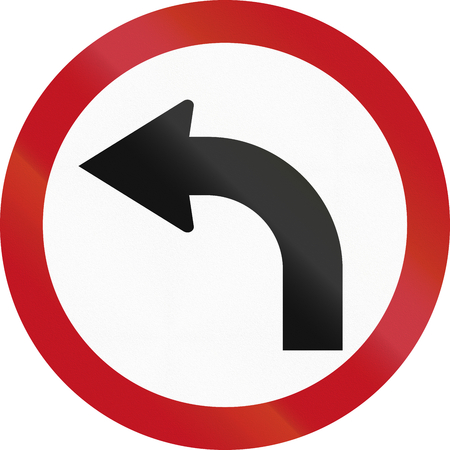 restricting: Colombian sign restricting the driving direction to left. Stock Photo