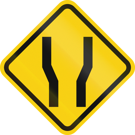 one lane road sign: Colombian road warning sign: Road widens