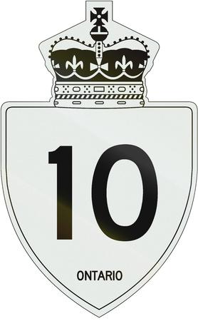 number 10: Canadian highway shield of Ontario highway number 10.