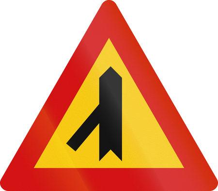 acute angle: Icelandic danger warning sign: 45 degree intersection, priority over other road. Stock Photo