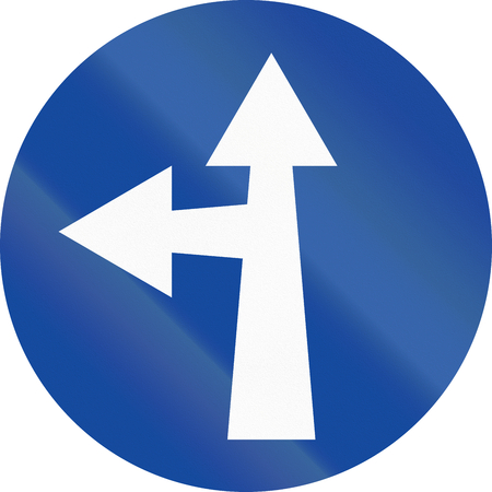 forked road: Greek traffic sign: Go straight or left