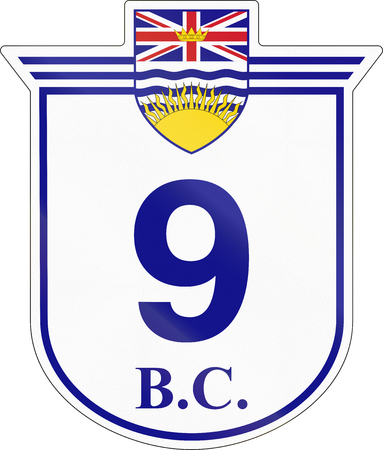number 9: Shield for the British Columbia Highway number 9. Stock Photo