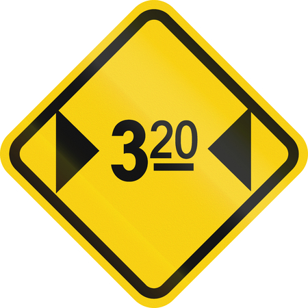 width: Warning road sign in Colombia: Width restriction ahead (3.2 meters)