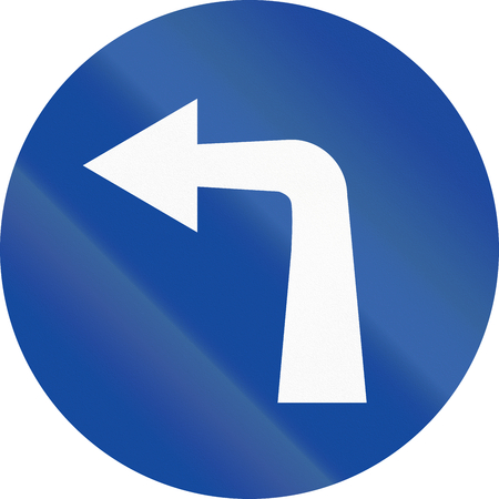 turn left: Greek traffic sign: Turn left ahead