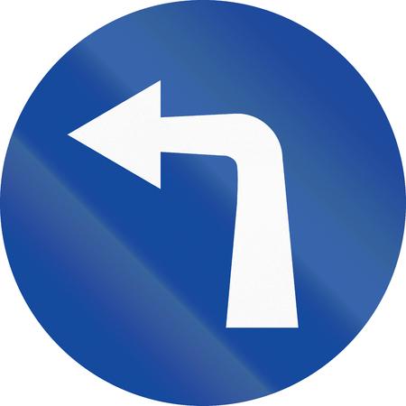 turn left: Segnale stradale greca: Girare a sinistra avanti