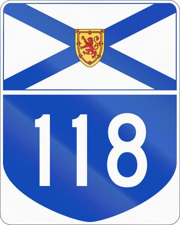 nova scotia: Route marker for Nova Scotia highway number 118.
