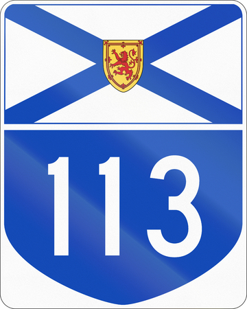 nova scotia: Route marker for Nova Scotia highway number 113.