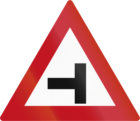 botswanan: Botswanan sign warning about a T intersection. Stock Photo