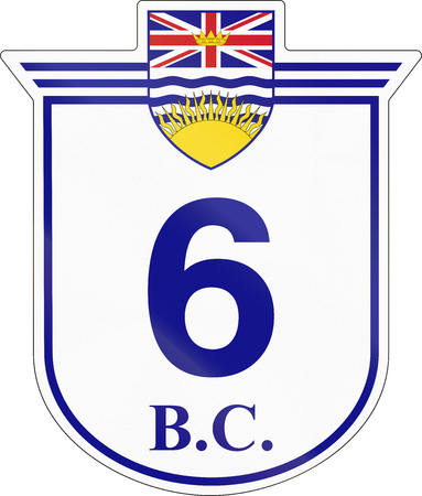 highway 6: Shield for the British Columbia Highway number 6. Stock Photo