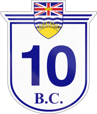 number 10: Shield for the British Columbia Highway number 10.