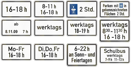 supplementary: Collection of German supplementary road signs regarding specific time restrictions. Stock Photo