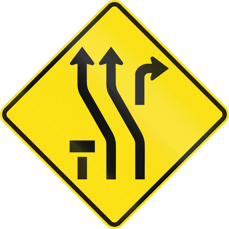 one lane road sign: Australian temporary road warning sign - Diversion to the left Stock Photo