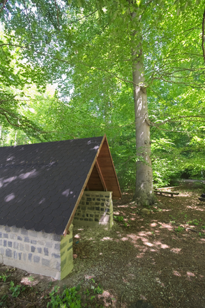 image created 21st century: Hikers refuge in a beech forest, seen from the side.